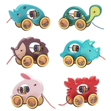 Baby Cartoon Animal Car Pull Rope Toys Drag Vehicles Rattles Educational Gifts