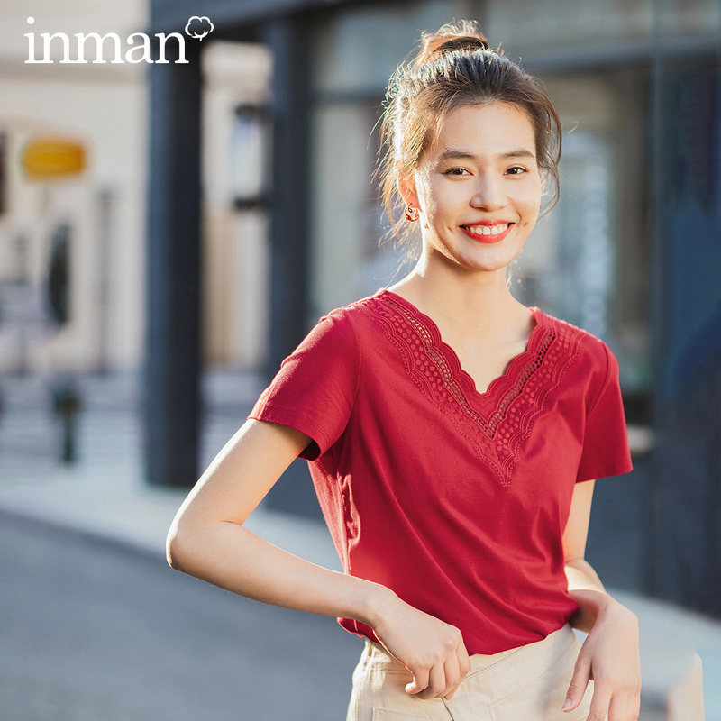 INMAN 2020 Summer New Arrival Literary All-match V-neck Personality Embroidered Pure Color Base Short Sleeve T-shirt