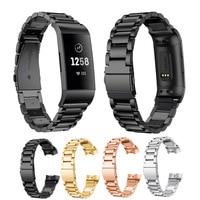 Correa de pulsera inteligente Fitbit Charge 4, 3, 2, de acero inoxidable, para Fitbit Charge 3, 4 SE, Correa negra y plateada