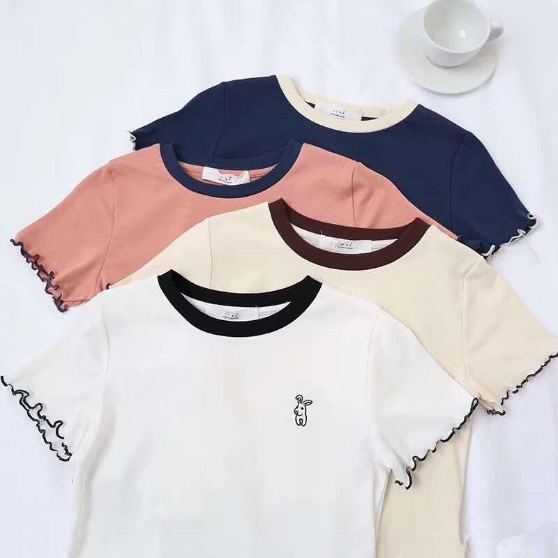 HELIAR T-shirts Frauen Oansatz Solide Plain Kaninchen Gedruckt Baumwolle Solide Kurzarm Sommer Volant Saum Casual T-Shirt Frauen