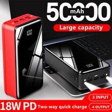 Внешний аккумулятор 50000 мАч, портативное зарядное устройство, 4 выхода, 3 входа, повербанк, Внешнее зарядное устройство для Xiaomi Mi, 9, 8, iPhone
