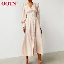 Sexy Dress Lantern Sleeve Satin Beige Party-Clud Elegant V-Neck Single-Breasted Women
