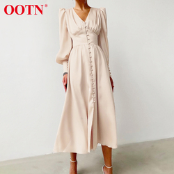 OOTN Beige Single Breasted Sexy Dress Party Clud High Waist Satin Long Dress Elegant V Neck Women Midi Dresses Lantern Sleeve