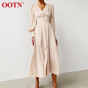 OOTN beżowa jednorzędowa seksowna sukienka Party Clud wysokiej talii satynowy sukienka elegancka V Neck kobiety sukienki Midi latarnia rękaw