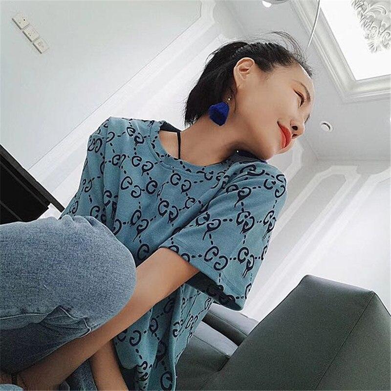 T-shirt New Summer Super Fire Short-sleeved Letter T-shirt Women's European Station Korean Printing Wild Clothes