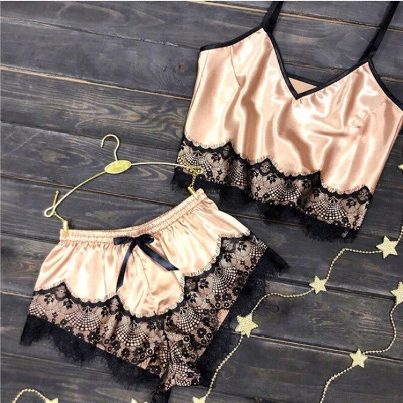 Sexy Women Lingerie Sleeveless Lace V-neck Sleepwear Silk Crop Top Shorts Set Pajamas Sets Home Clothes Pyjamas Women Pjs