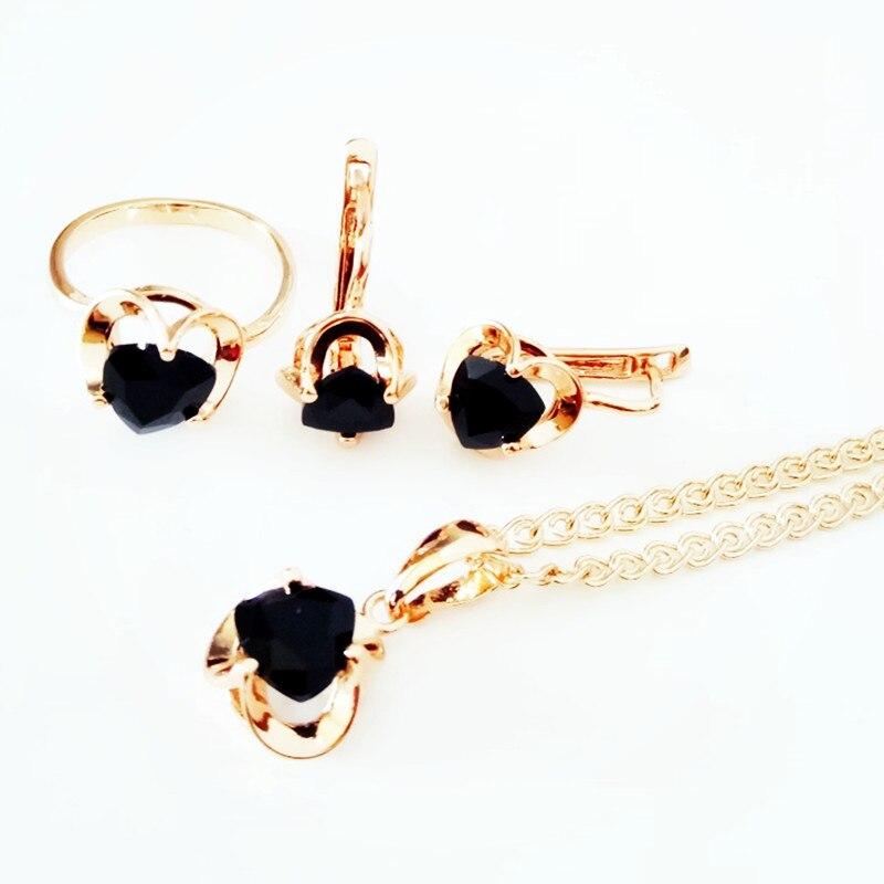 Комплект из колье, серёг и кольца, под розовое золото|Ювелирные наборы для невесты| | АлиЭкспресс