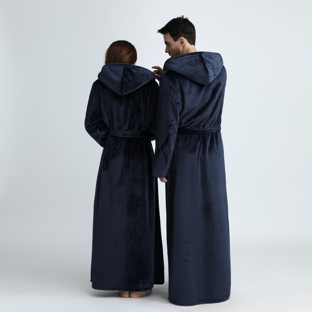Unisex Extra Long Hooded Flannel Bathrobe 6