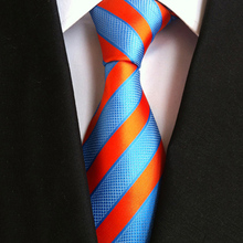 Casual Ties For Men Bright Blue And Orange Striped Tie Suitable Wedding Party Clothing Accessories Man Unisex Shirt Neckties