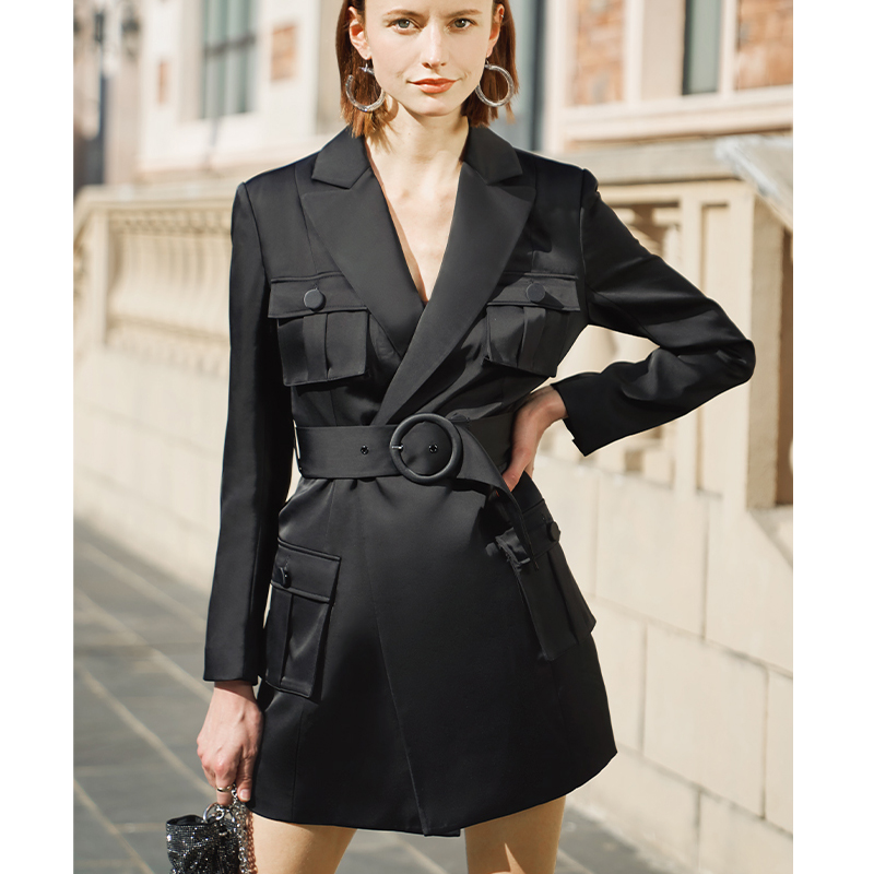 AEL Elegant Slim Black Blazer Dress Spring Autumn Women Long Sleeve Waist Jacket Office Lady Wrap Bodycon Casual Streetwear