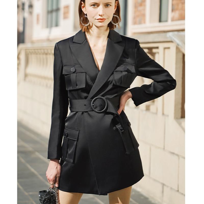AEL Elegant Slim Black Blazer Dress Spring Autumn Women Long Sleeve Waist Jacket Office Lady Wrap Bodycon Casual Streetwear