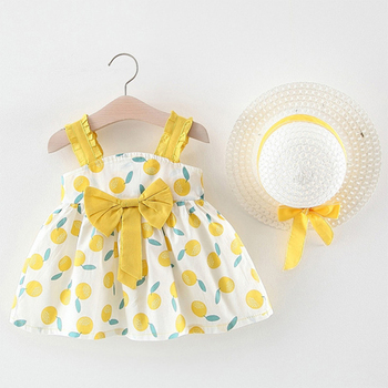 Baby Girl's Summer Patterned Dress with Hat 4