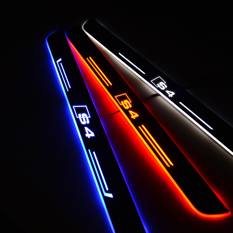 Moving Light LED Car Door Sill For AUDI S4 2003-2019 Door Scuff Plate Pedal Threshold Light Car Sticker