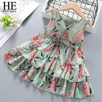 ¡Nuevo! Vestido de verano para niñas de Hello Enjoy, vestidos de princesas con flores y dulces, vestido Casual encantador, ropa para niños