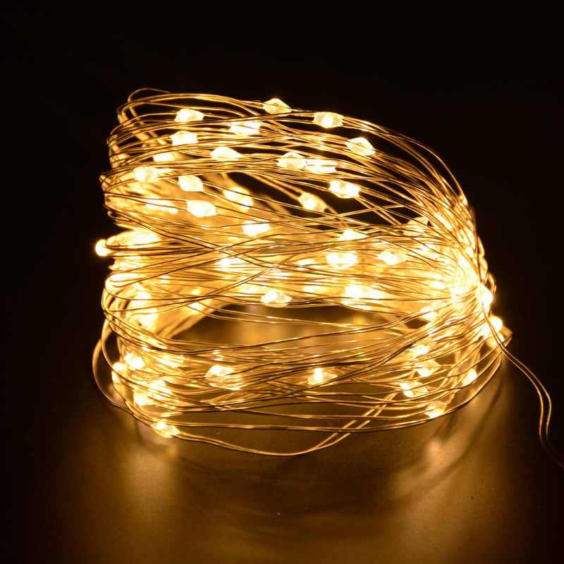 SPLEVISI 10M 100led Battery Powered Timer LED String Fairy Lights Christmas Holiday Party DIY Home Outdoor Decorative Lights