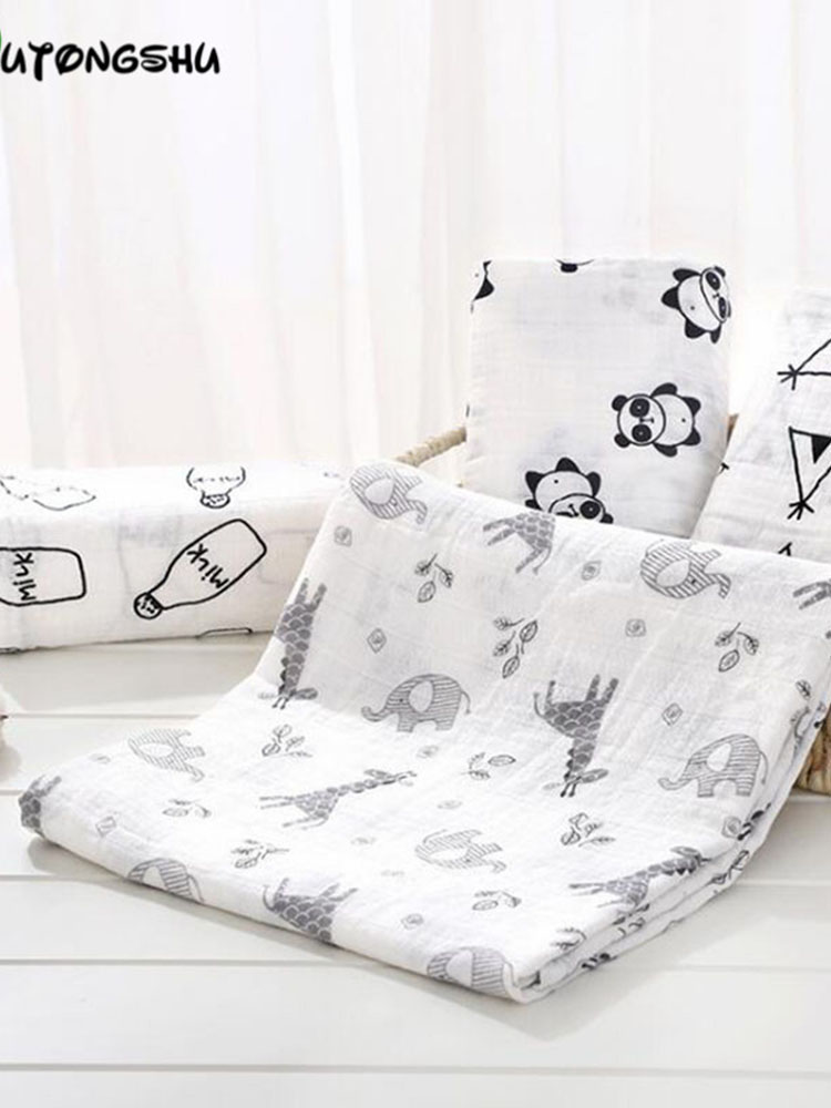 Muslin Swaddles Blankets Bedding Photography-Accessories Breastfeeding-Cover Newborn