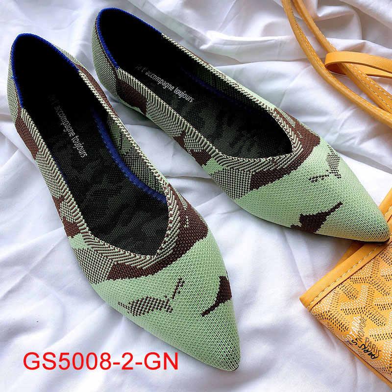 2020 Pointed Toe Flats รองเท้าผู้หญิงแบนรองเท้าบัลเล่ต์ Breathable ถัก Mocasines De Mujer เสือดาว Bailarinas De Mujer ฤดูใบไม้ร่วง