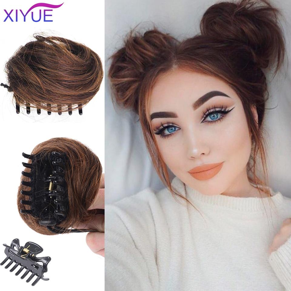 XIYUE кудрявый шиньон, короткий синтетический шиньон для наращивания волос, шиньон в виде пончика, парик в пучок, зажим для волос для женщин