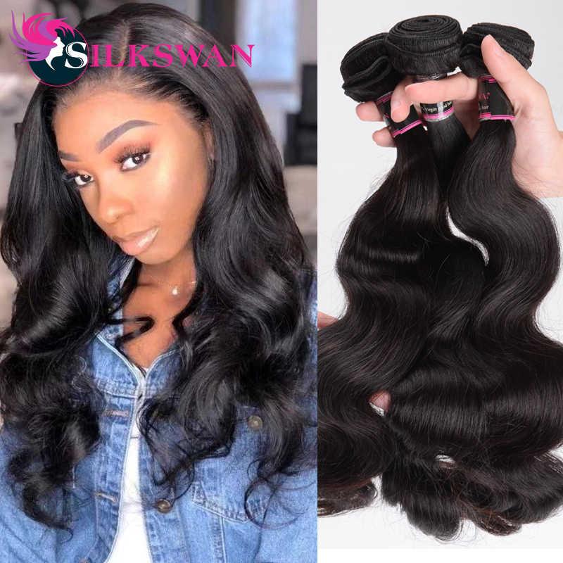 Silkswan İnsan saç atkı vücut dalga demetleri 22 24 26 inç brezilyalı Remy saç uzantıları 3 adet/grup çift atkı saç demetleri