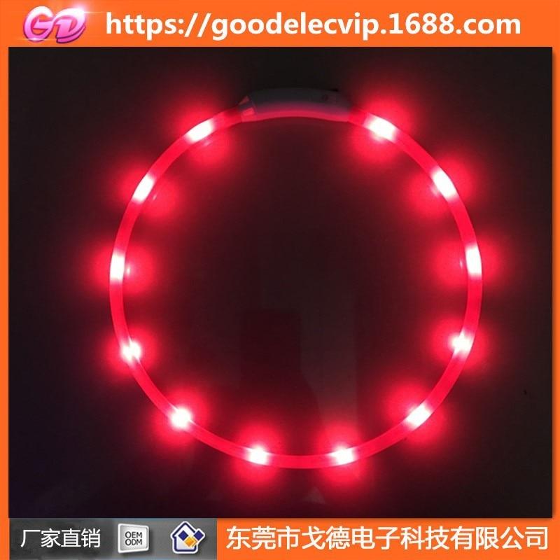 New Style Ultra Large Capacity Battery Silicone Tube USB Charging LED Shining Flash Cat Dog Collar Shining Pet Dog Circle