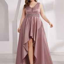 Prom-Dresses Party-Gowns Sequined Satin Ever Pretty Plus-Size Sexy Sleeveless Asymmetrical