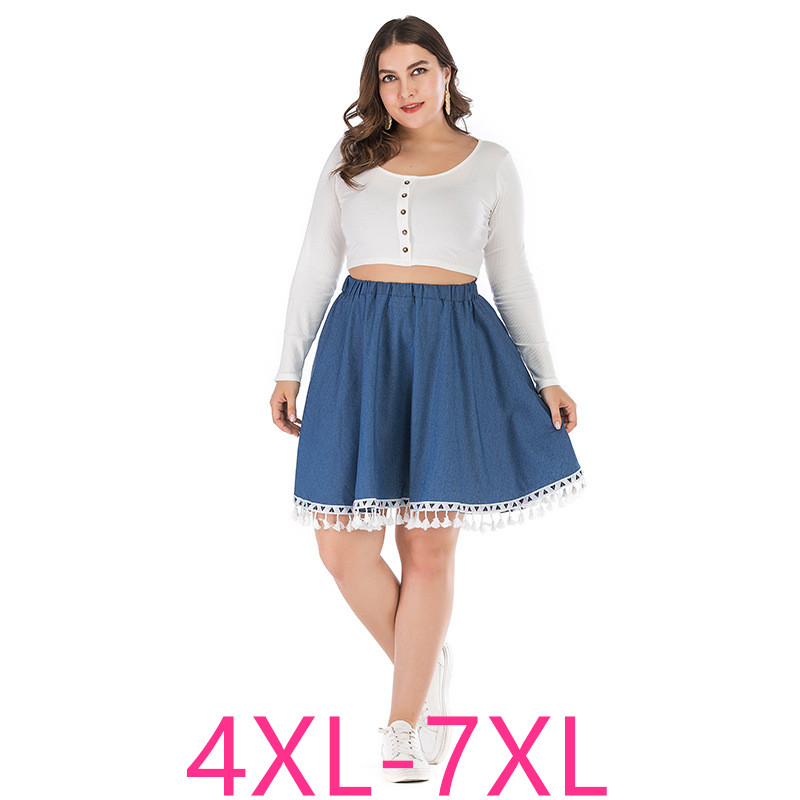 2019 New Summer Plus Size Skirt For Women Large Casual Loose Elastic Waist Lace Denim Pleated Short Skirts Blue 4XL 5XL 6XL 7XL