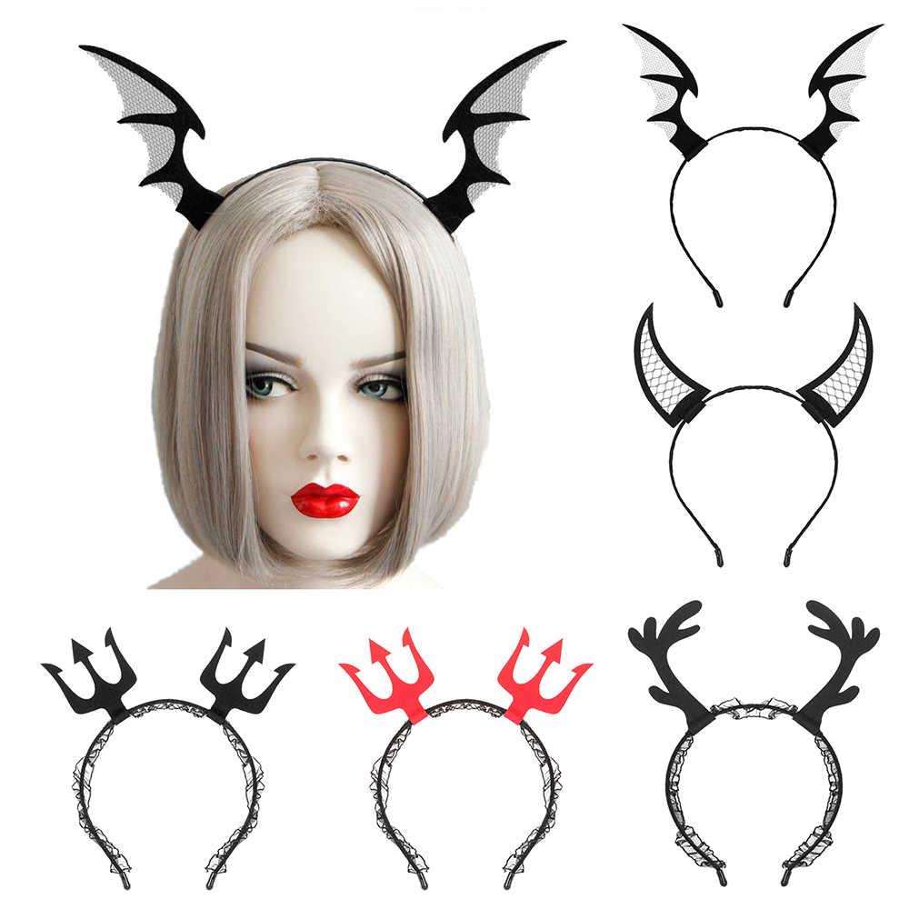 1 Uds. Cosplay de Halloween, tocado, velo de encaje, fiesta de disfraces, accesorios para el cabello, novedad, aro de cuerno de demonio gótico