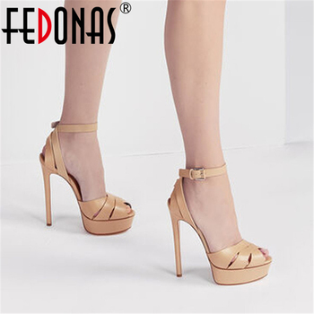FEDONAS Genuine Leather Peep Toe Women Sandals Wedged Platforms High Heels Pumps 2020 Summer Newest Nigh Club Party Shoes Woman