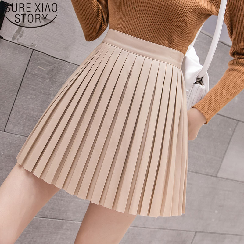 Elegant Leather Shorts Fashion High Waist Shorts Girls A-line  Bottoms Wide-legged Shorts Autumn Winter Women 6312 50 69