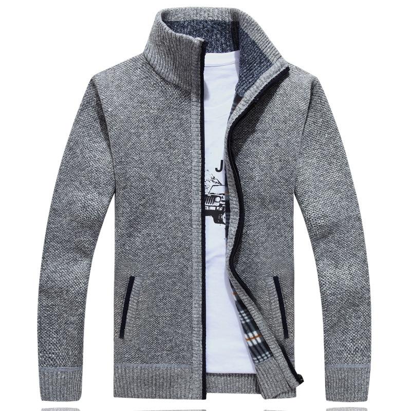 Nuevo Cardigan suéter hombres Otoño Invierno SweaterCoats hombre gruesa de piel sintética de lana suéter para hombre Casual Chaquetas de punto tamaño M-3XL