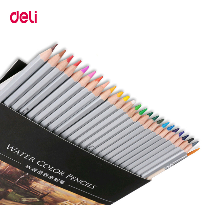 Deli High Quality 24/36/48 Colors Professional Watercolor Pencil Set For Drawing School Art Supply Wholesale Brand Wood Pencils