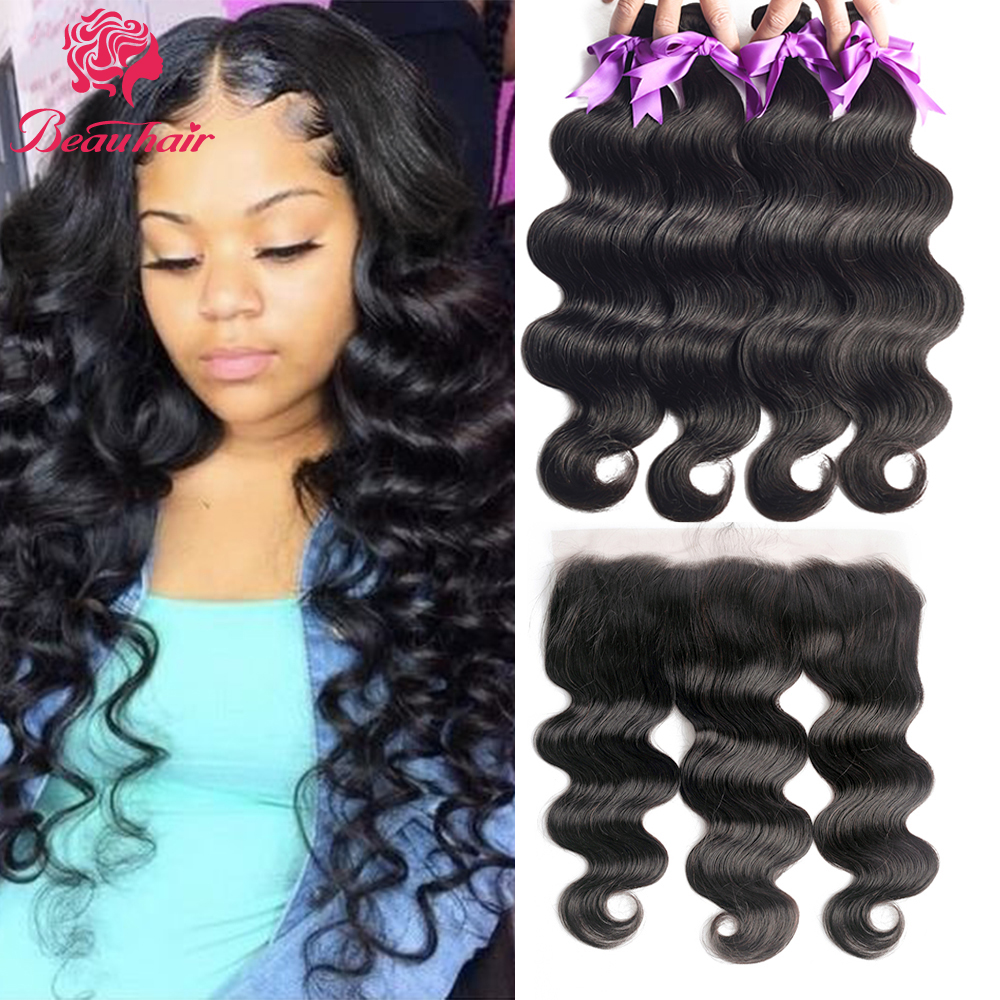 Malaysia Body Wave Human Hair Bundles With Frontal Transparent Lace Frontal 13X4 Lace Closure With Bundles Pre-Plucked Baby Hair