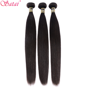 Image 3 - SATAI ตรงผมรวมกลุ่มปิด Peruvian Hair 3 รวมกลุ่มกับธรรมชาติสี Non Remy Hair Extension