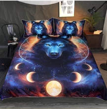 NEW 3D Sun and Wolf printing Bedding set with pillowcases set single double queen king sizes(China)