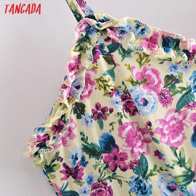 Tangada 2021 Fashion Women Flowers Print Back Lace Up Long Dress Sleeveless Backless Female Casual Dress 3H447 2