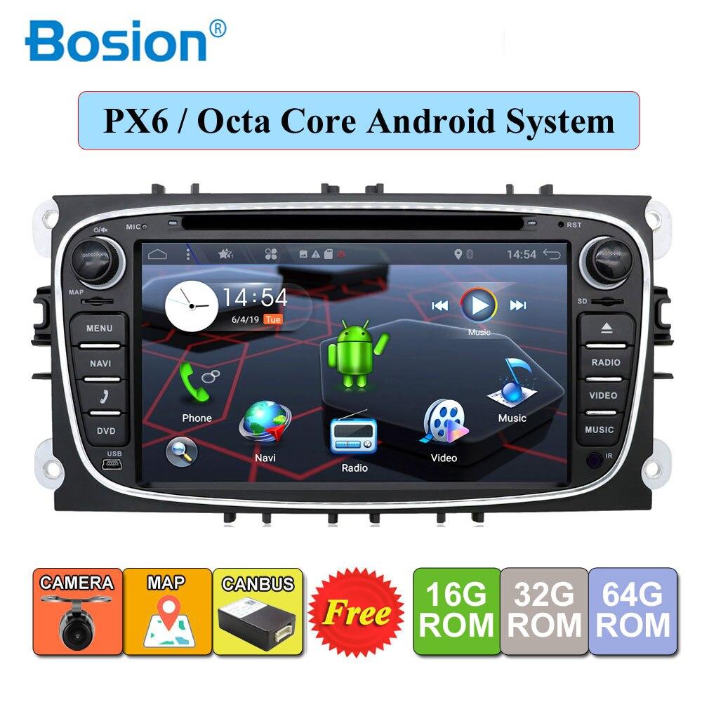 2 din Android voiture DVD lecteur multimédia GPS Navi pour Ford pour focus 2 Mondeo Galaxy Wifi Audio Radio stéréo unité principale Canbus gratuit