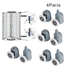 Lower-Rollers Bathroom Pulley Wheels Runners Enclosures Sliding Cabins Castor Upper 8pcs/Set