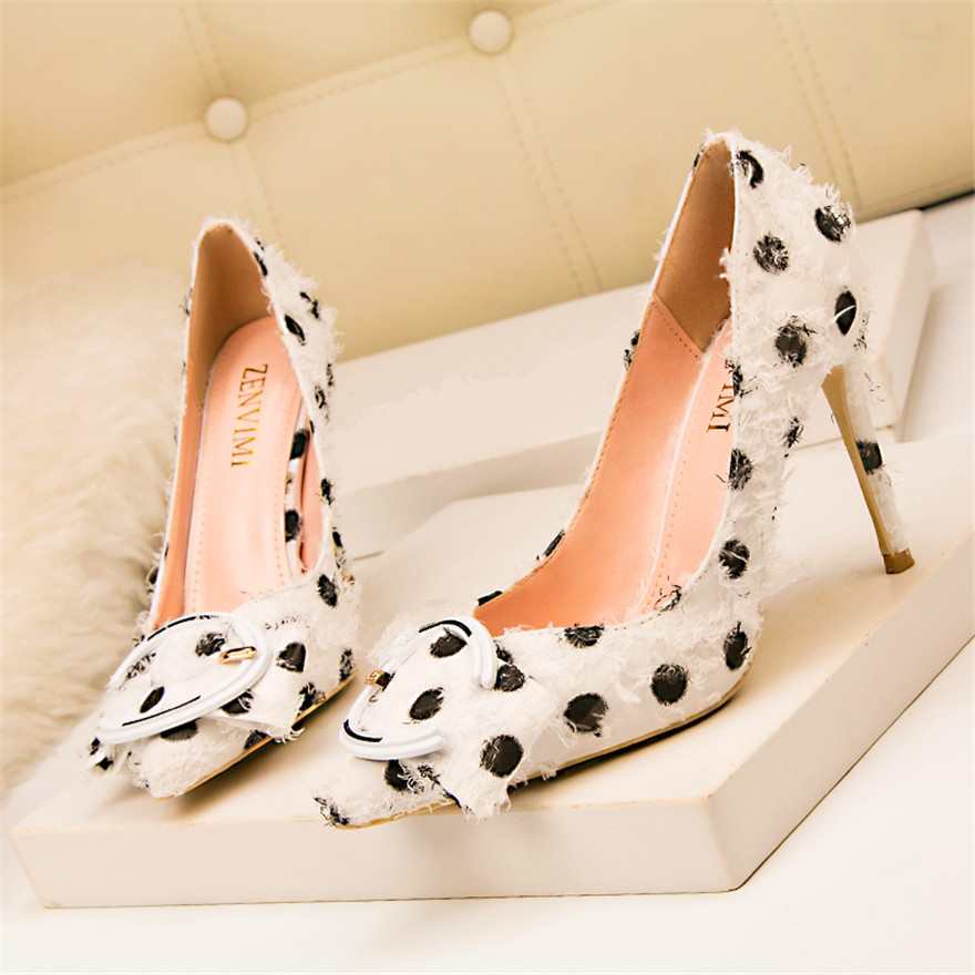 White Black Polka Dot Elegant Women High Heels Shoes Office Fashion Metal Buckle Pointed Toe Pumps Ladies Party Shoes Size 34-41