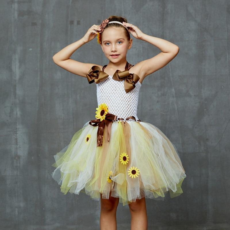 Sweet Sunshine Sunflower Tutu Dress with Matching Headband Flower Girl Bridal Birthday Pageant Costume Kids Autumn Dresses (5)