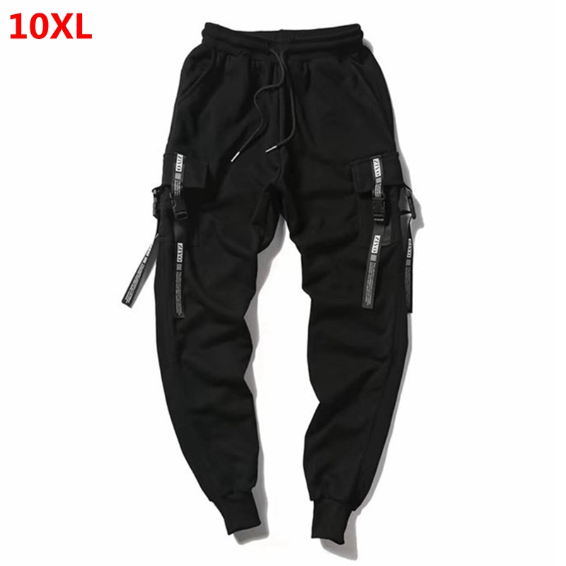 Oversized Pants Tide People Oversized Male Pants Cotton Guard Pants Multi-pocket Elastic Pants Black 10XL 9XL