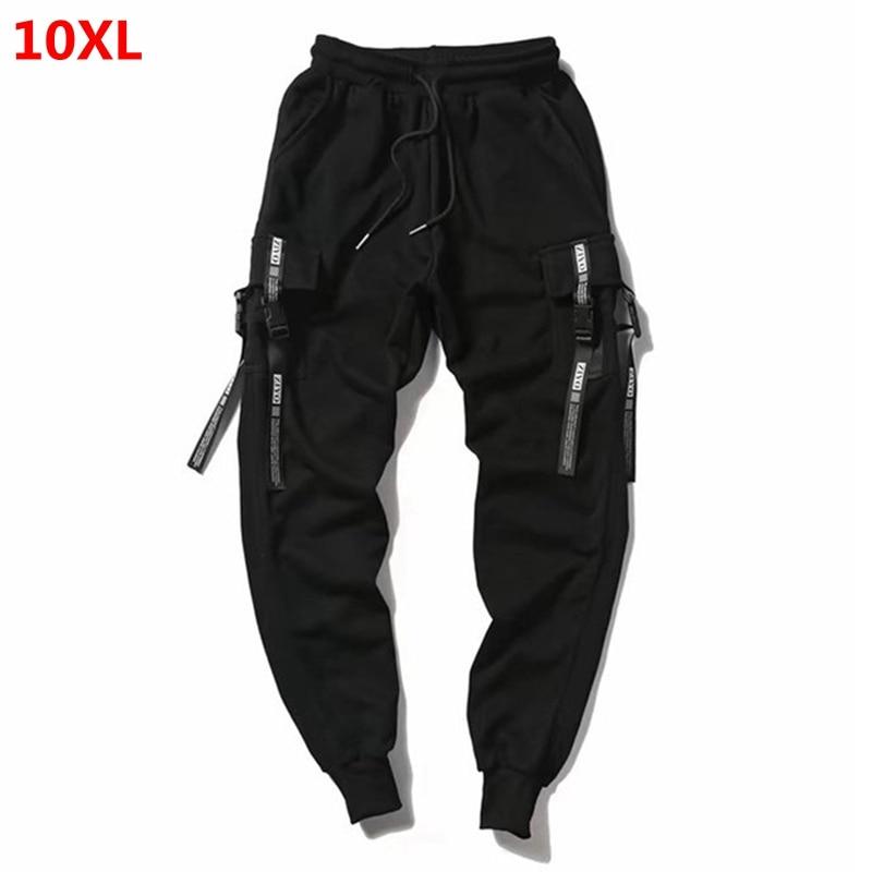 Oversized Pants Tide People Oversized Male Pants Cotton Guard Pants Multi-pocket Elastic Pants Black 10XL 9XL
