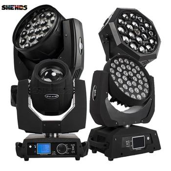 цена 19x15W Wash /36x18W /12W LED Zoom Moving Head 7R Beam light 18x12W Bee eye Par lights Projector For DJ Disco Party stage Ball онлайн в 2017 году