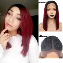 Anogol Dark Roots Ombre Wine Red Synthetic Lace Front Wigs Short Straight Bob Futura Wig for Woman Middle Part