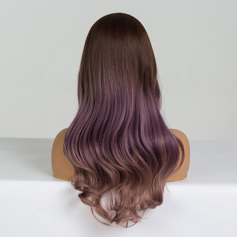 Image 2 - ALAN EATON Long Wavy Cosplay Wig Brown Purple Ombre Synthetic Hair Wigs Heat Resistant Fiber Middle Part Wigs for Black  WomanSynthetic None-Lace  Wigs   -