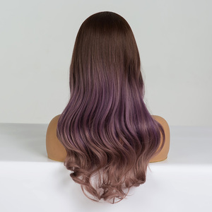 Image 2 - ALAN EATON Long Wavy Cosplay Wig Brown Purple Ombre Synthetic Hair Wigs Heat Resistant Fiber Middle Part Wigs for Black  Woman