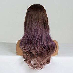 Image 2 - EATON perruque synthétique pour Cosplay longue ondulée marron, violette, ombré, perruques en Fiber résistante à la chaleur pour femmes noires