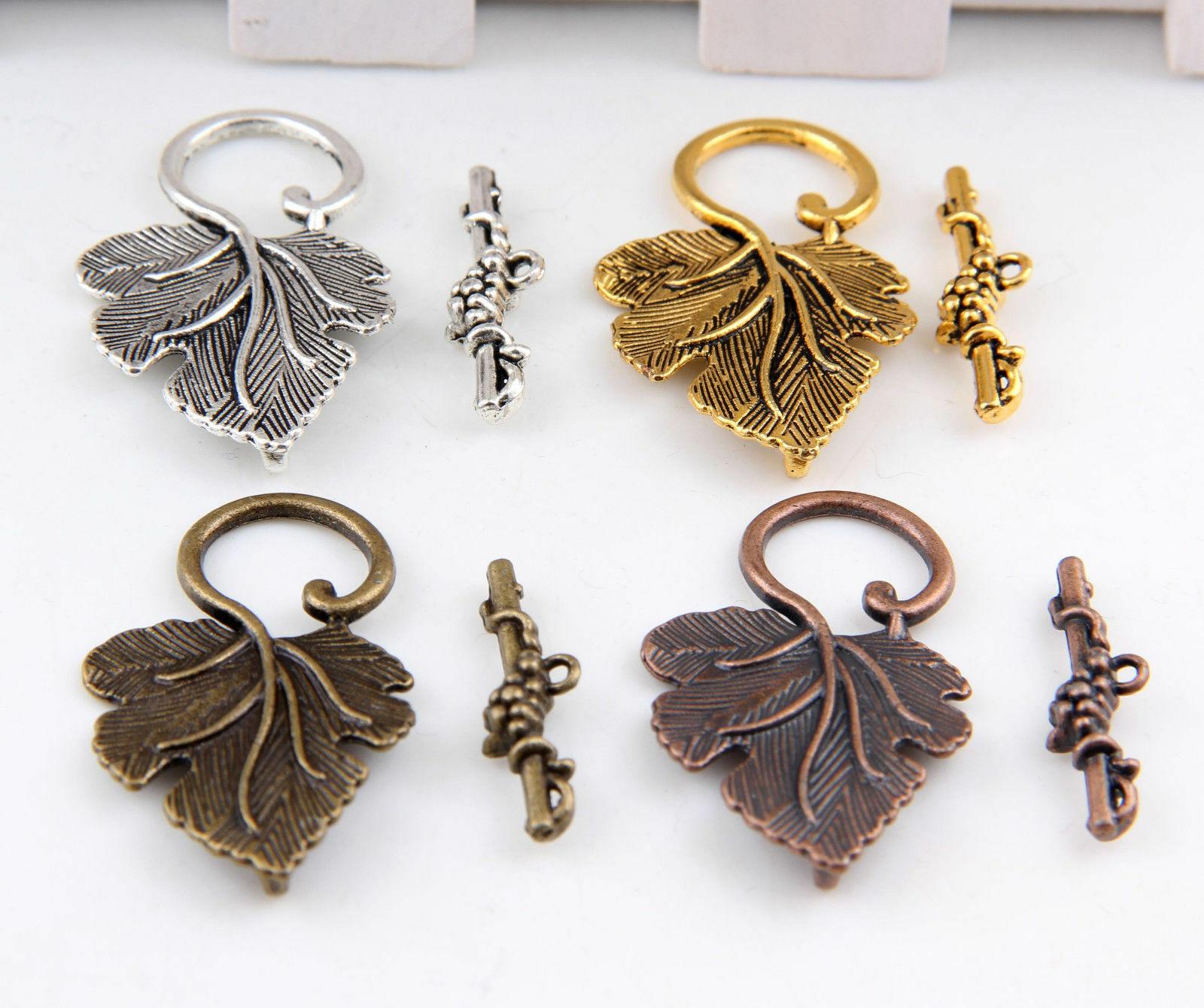 10 шт., зажимы-коннекторы для изготовления ювелирных изделий в форме листьев винограда, для самостоятельного изготовления браслетов, ожерел...