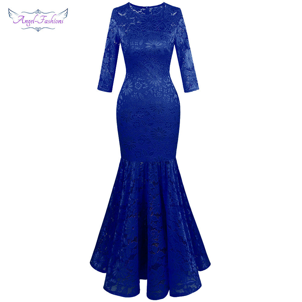 Angel-fashions Women's Floral Lace 3/4 Sleeves Illusion Prom Party Maxi Mermaid Elegant Evening Dress Royal Blue 416