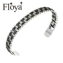 Floya Geometry Weave Labyrinth Stainless Steel Cuff Bangles Beautiful Knitted Black Strand Bracelet