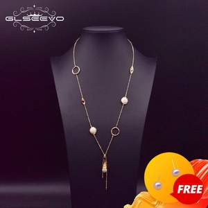 GLSEEVO Natural Fresh Water Pearl Long Pendant Necklace For Women Wedding Winter Handmade Accesories Luxury Jewellery GN0158